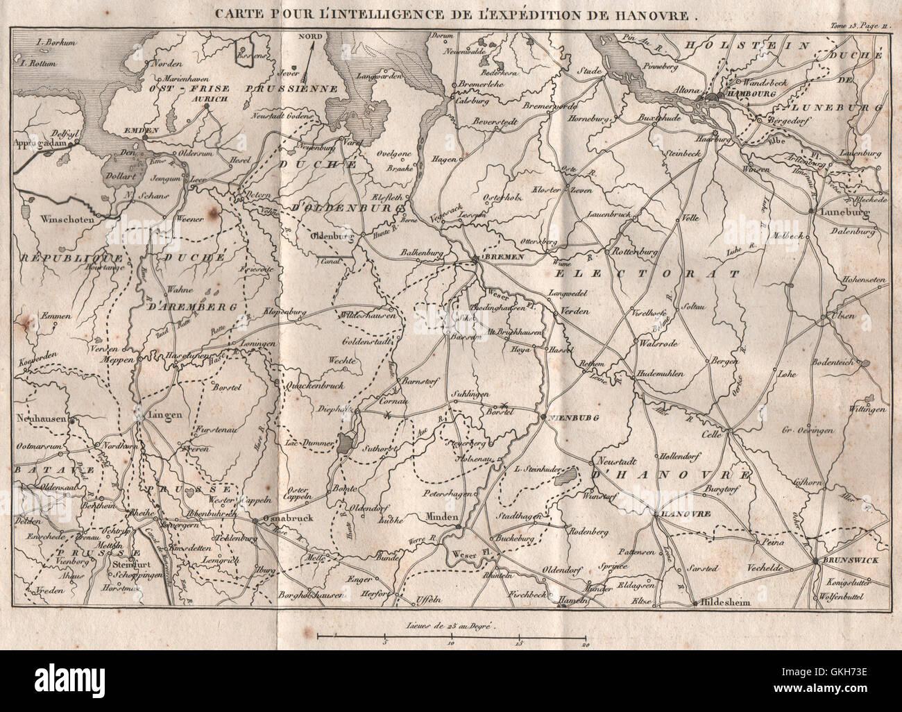 Emden Karte.Niedersachsen Napoleonischen Schlachten Hamburg Bremen