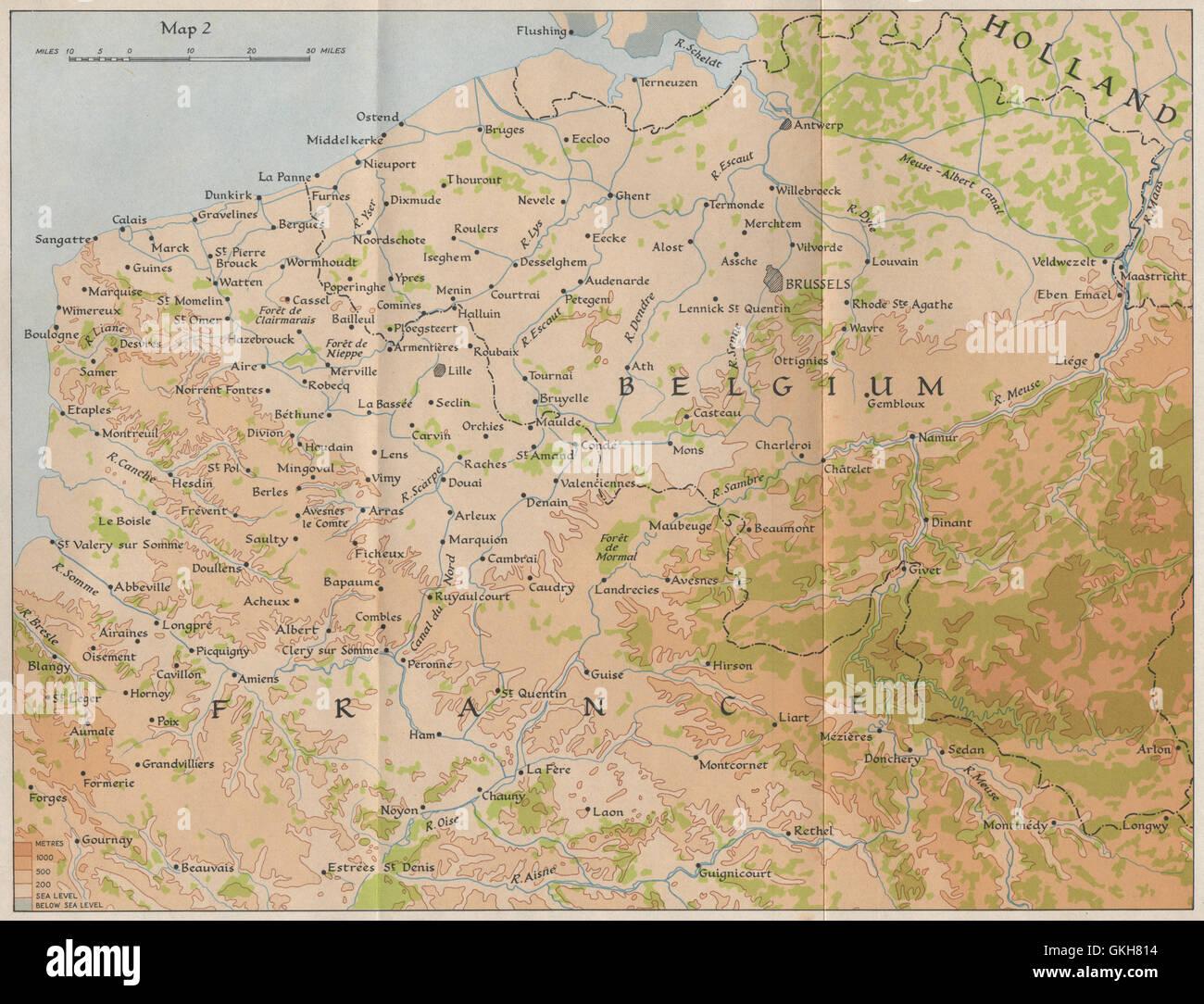 Nordfrankreich Karte.Flandern Im Jahre 1940 Nordfrankreich Belgien Gebr 1953