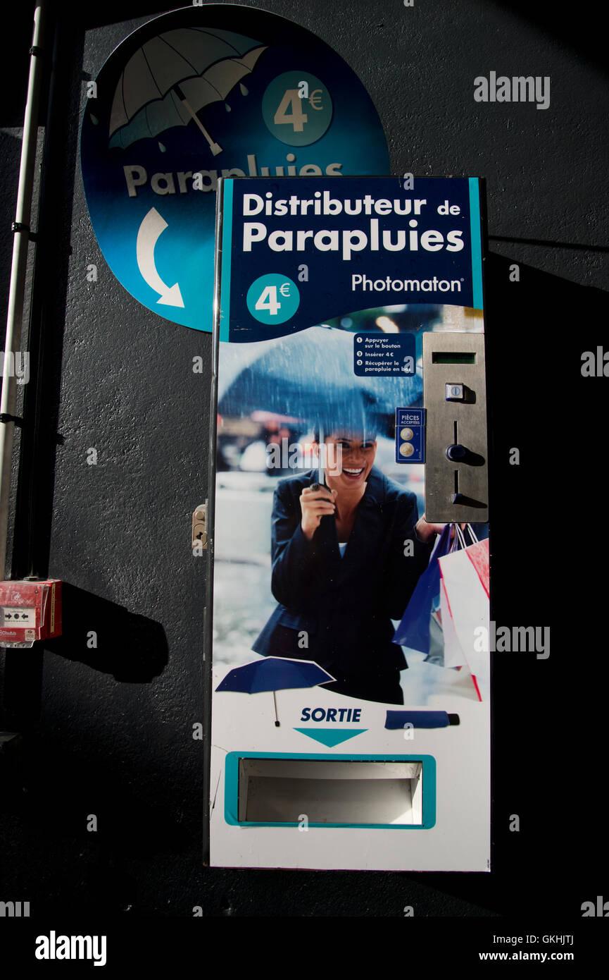 Frankreich, Lille. Slot-Maschine für Sonnenschirme. Stockbild