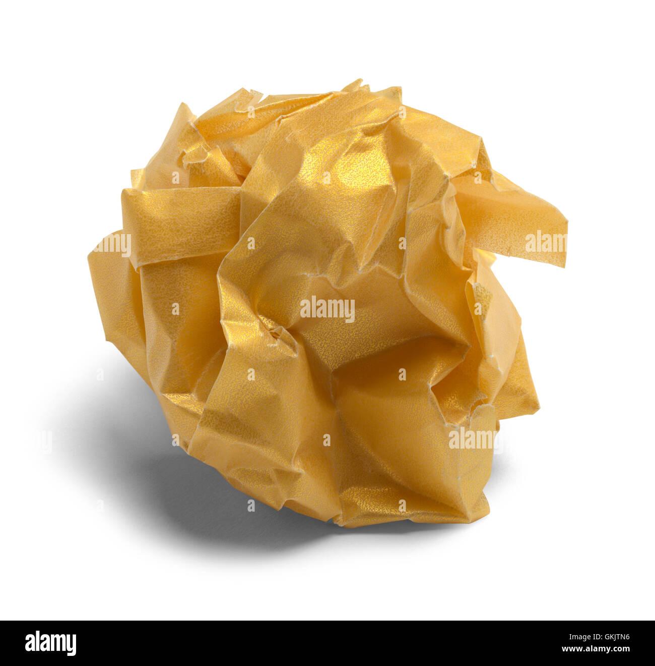 Zerdrückt Golden Papierkugel, Isolated on White Background. Stockbild