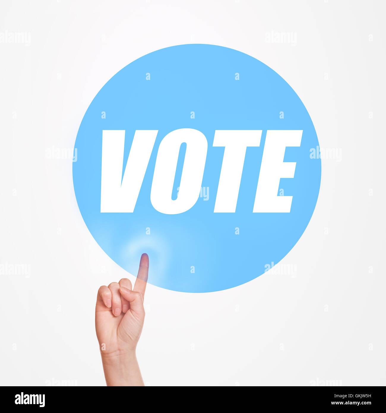 Abstimmung über Wahlen Konzept, Finger drücken, die Förderung der Idee des Nehmens der Teilnahme Stockbild