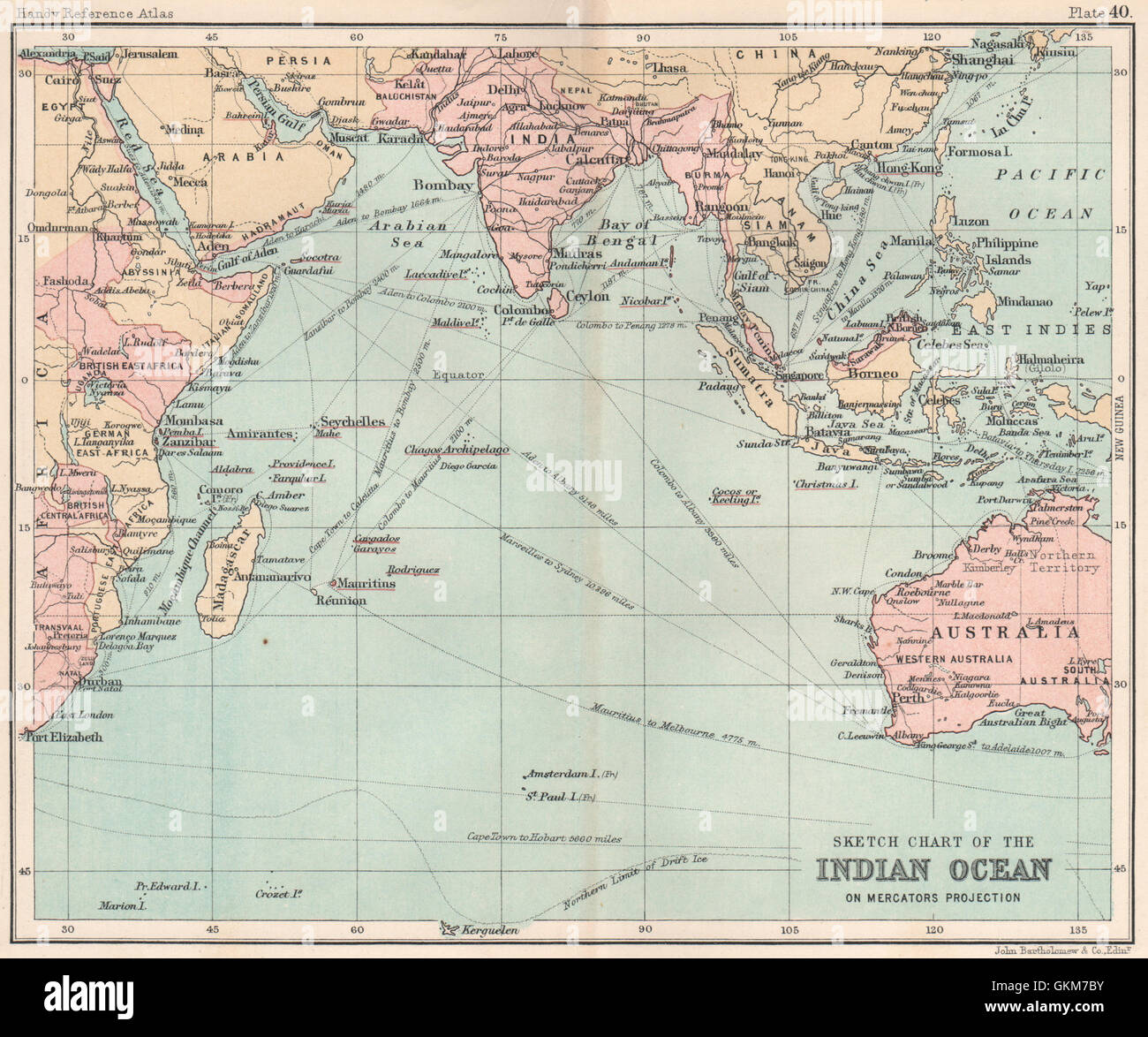 Indian Ocean Old Map Stockfotos & Indian Ocean Old Map Bilder - Alamy
