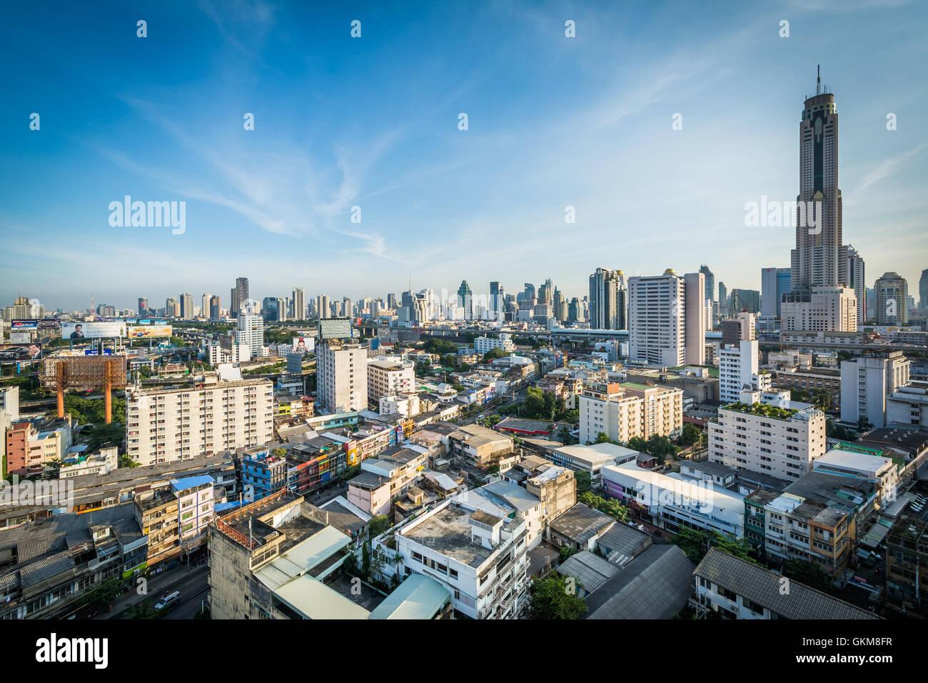 Blick auf Bezirk Ratchathewi, in Bangkok, Thailand. Stockbild