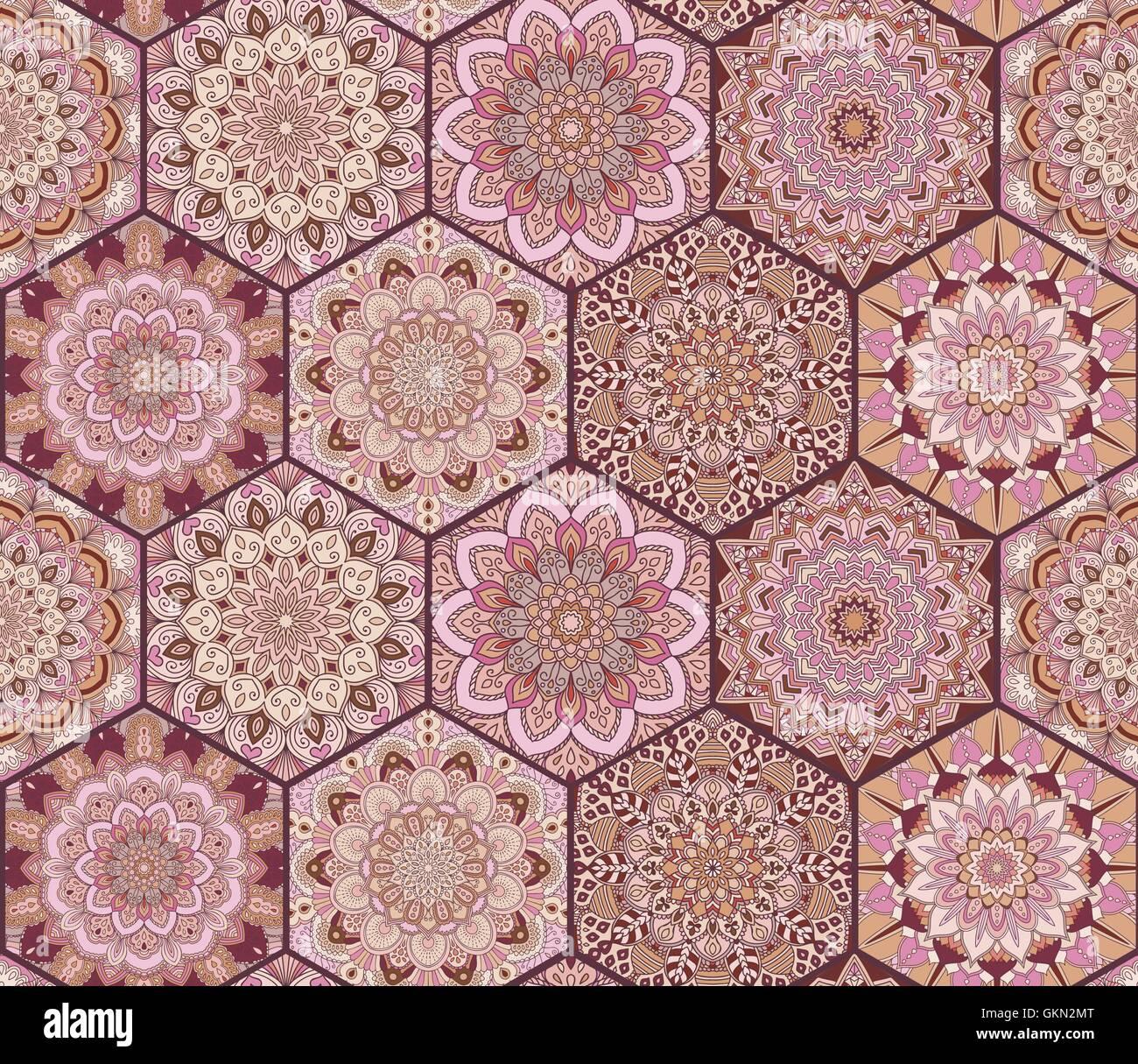Fliesen Muster Rosa Braun Sechsecke Vektor Abbildung Bild