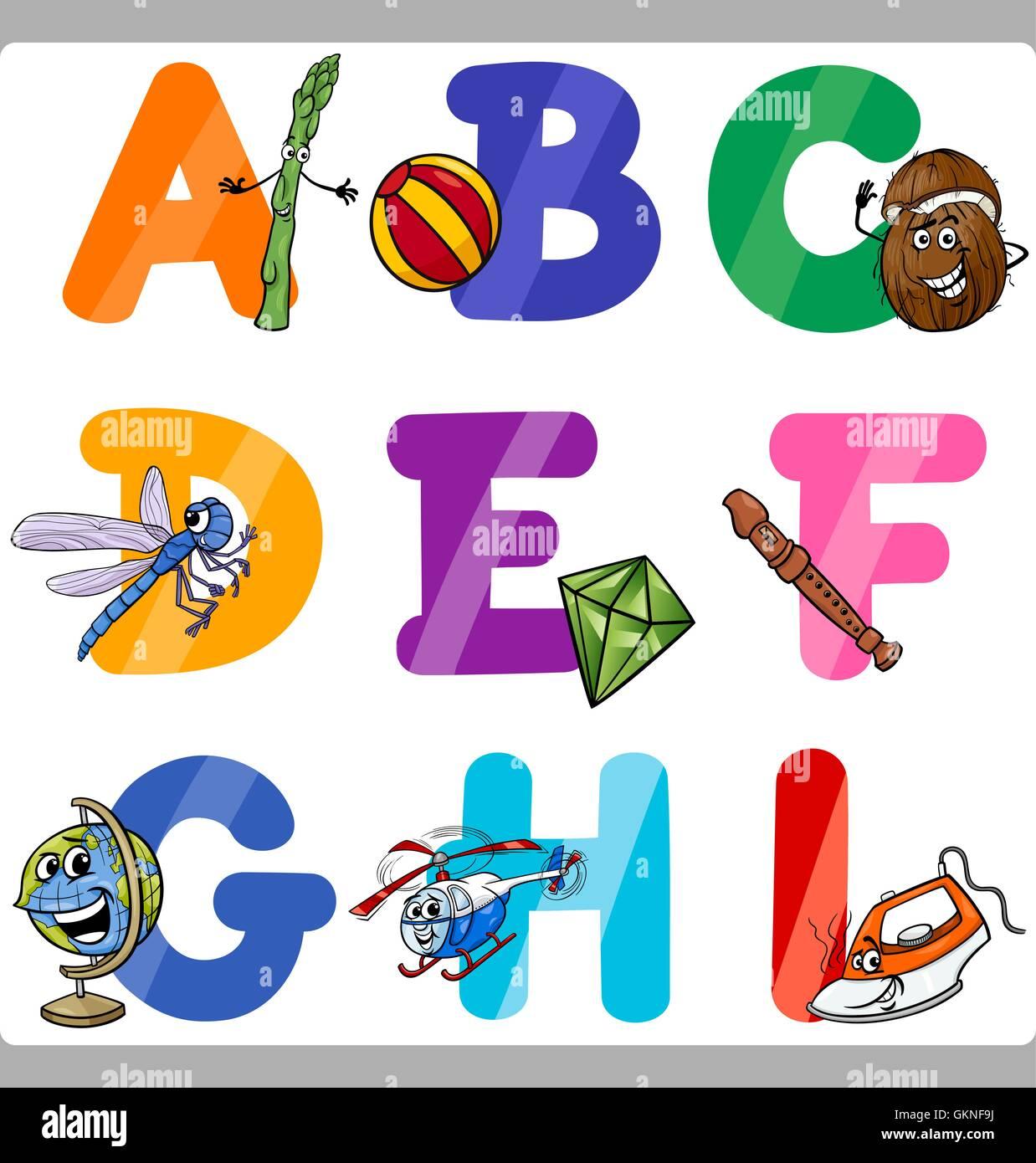Bildung Abbildung Charakter Kollektion Alphabet Cartoon ABC Kind ...