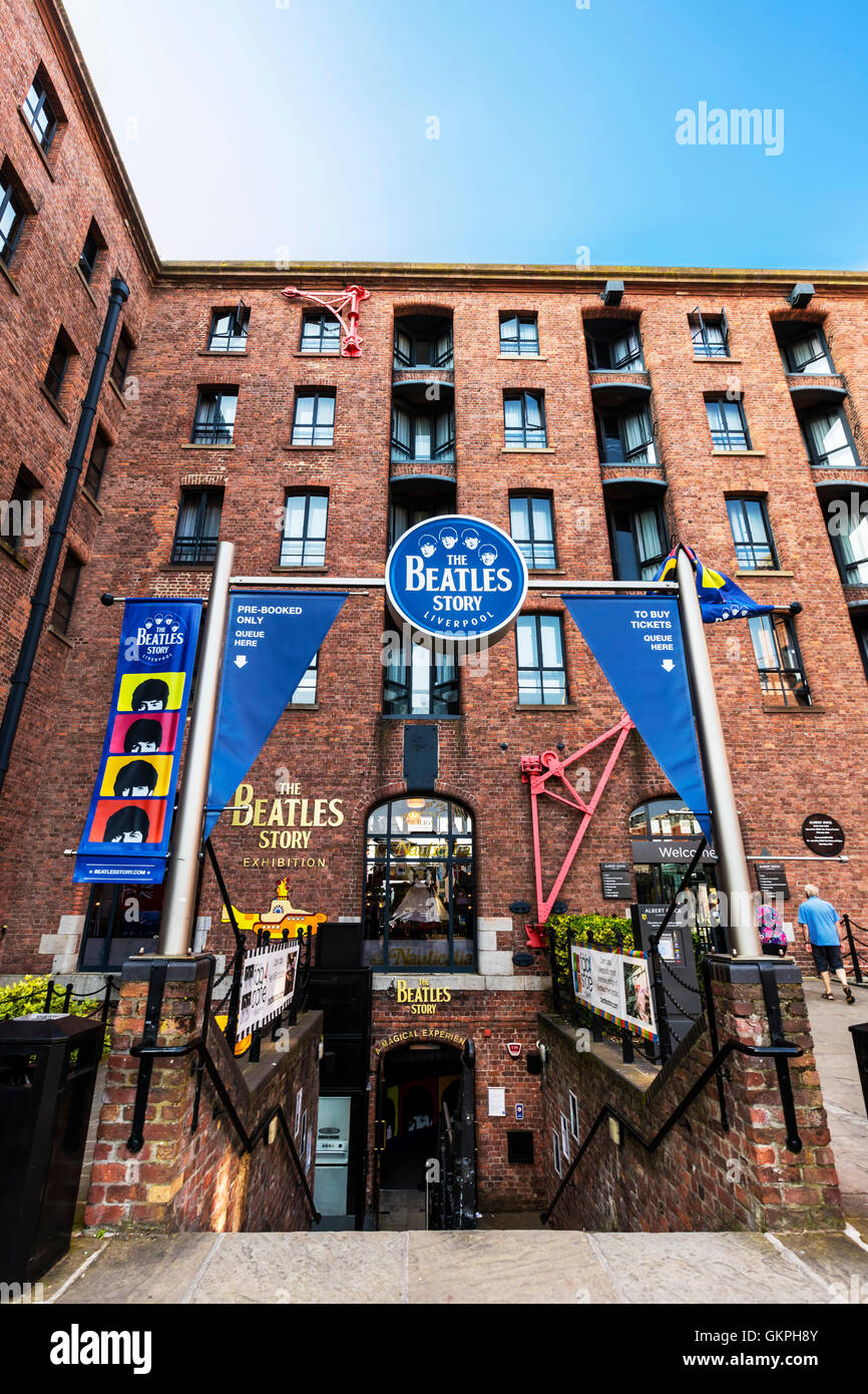 Die Beatles Story ist eine Touristenattraktion, gewidmet der 1960er-Jahre-Rock-Gruppe The Beatles in Liverpool Stockbild