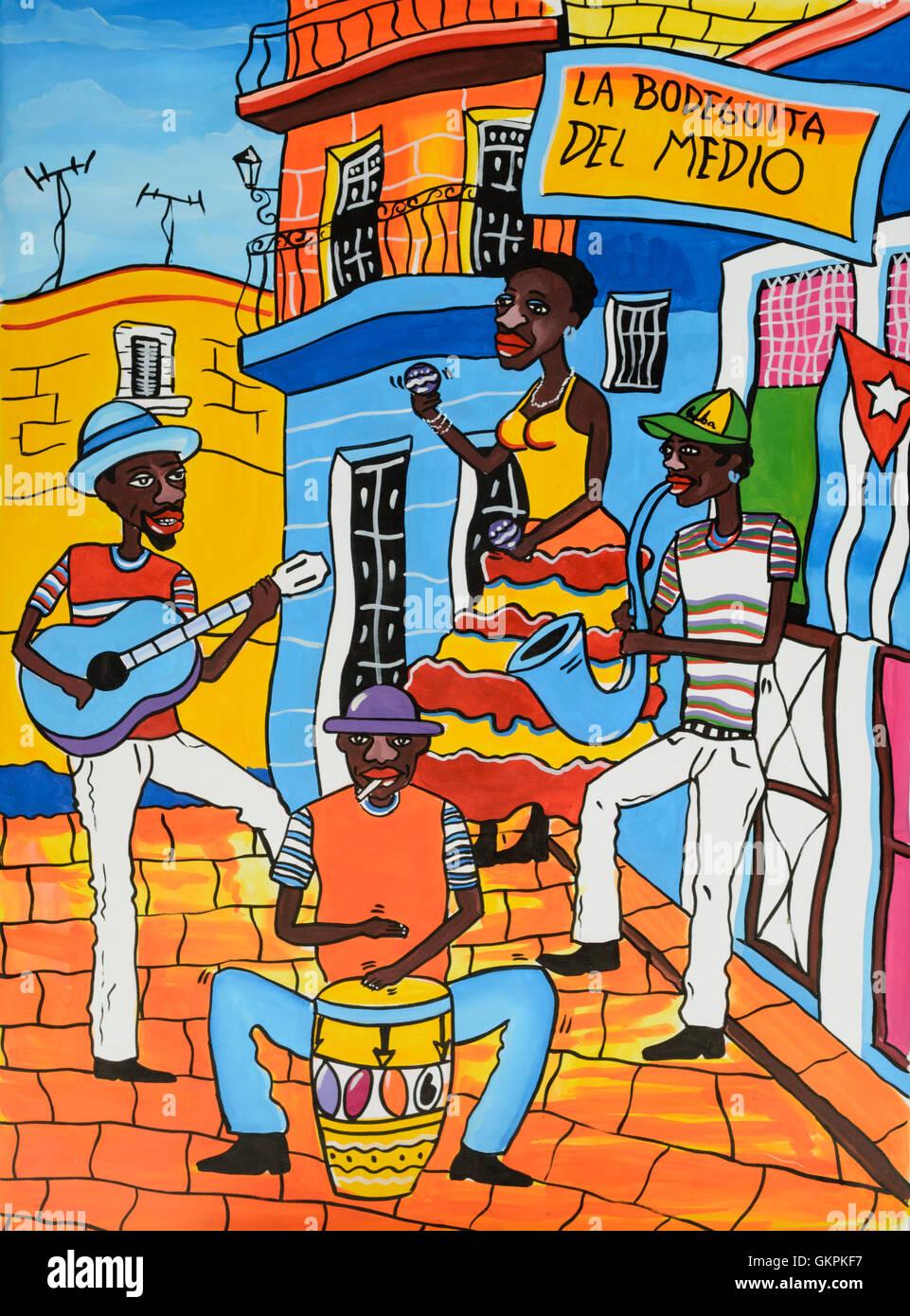 Farbenfrohe Gemälde der Darstellung La Bodeguita del Medio in Havanna, Kuba - einem berühmten Bar besucht Stockbild