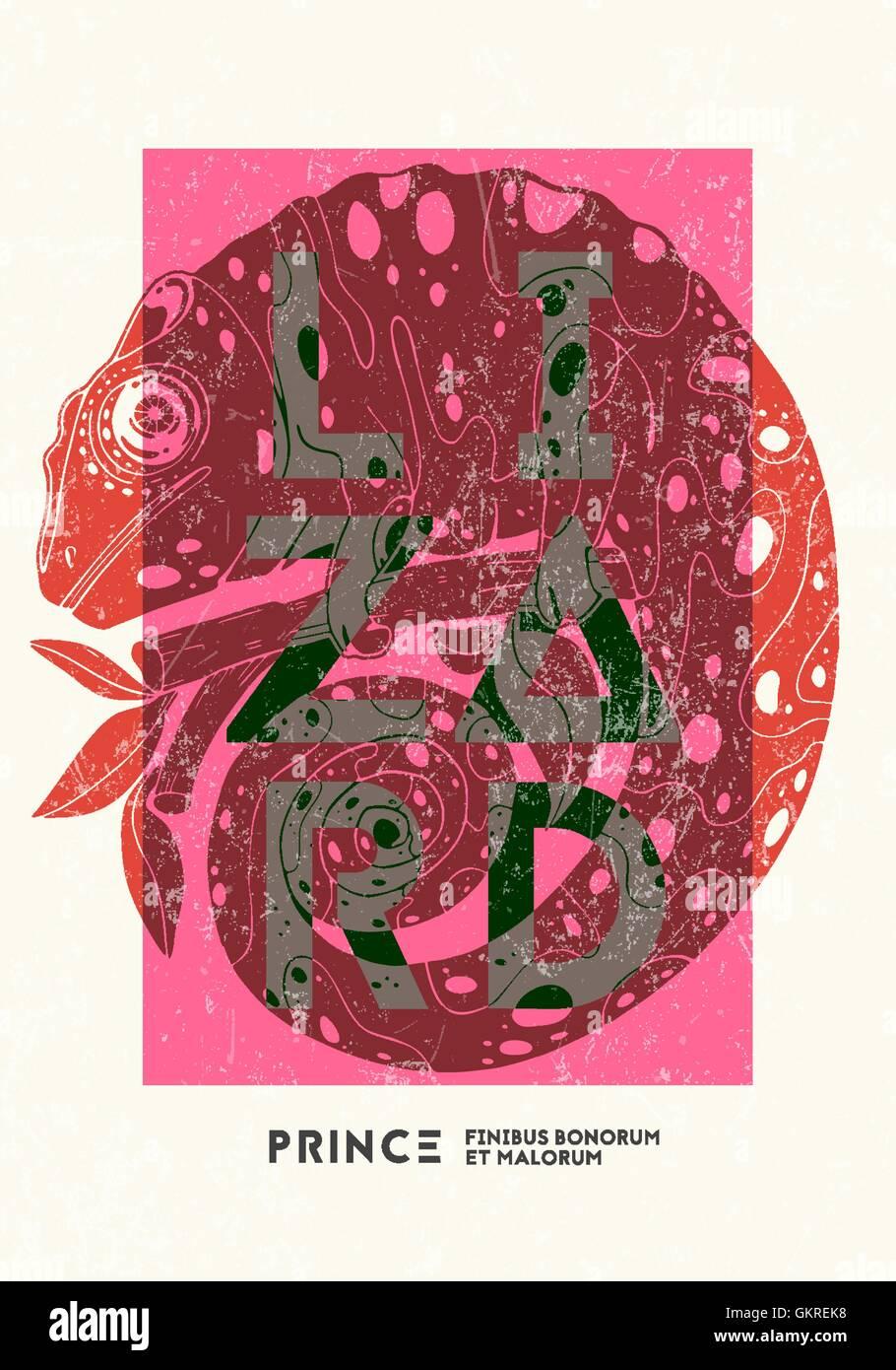 Plakat Design Vorlage Mit Chamäleon Vektor Abbildung Bild