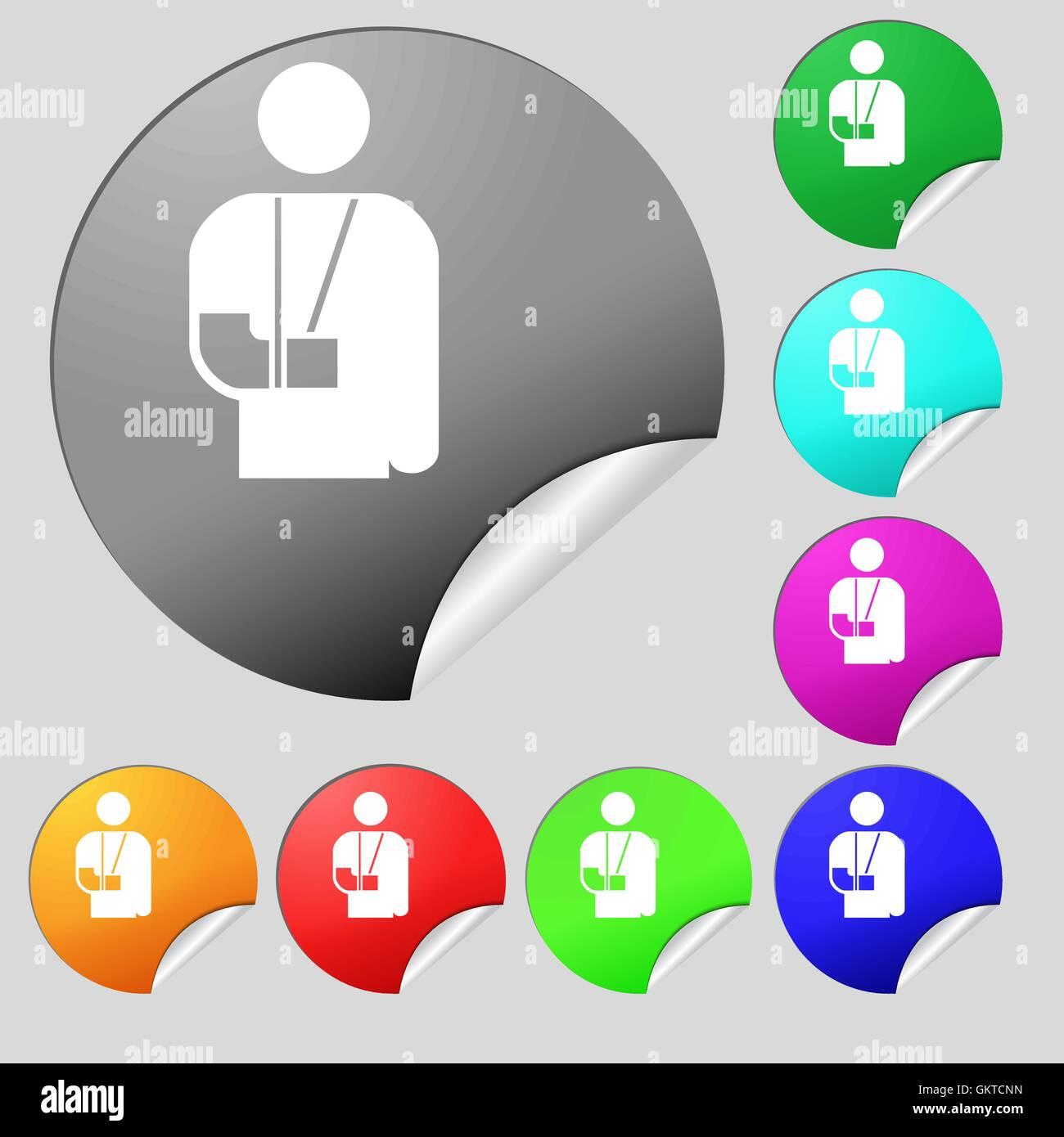 Gebrochenen Arm Behinderung Symbol Zeichen Satz Von Acht