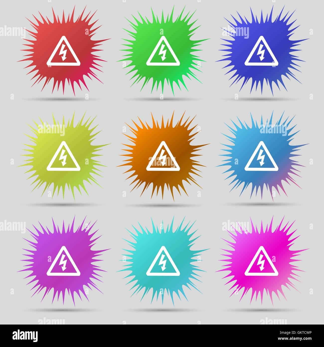 Spannung Symbol Zeichen. Eine Reihe von neun original Nadel Buttons ...