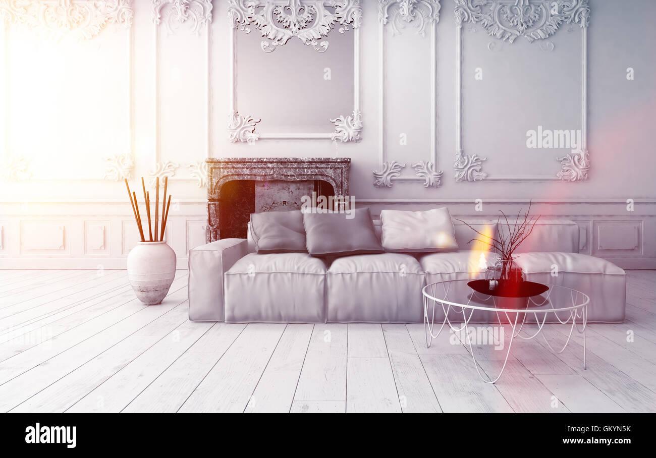 Helles Wohnzimmer Klassische Interieur Mit Vertäfelung Und Verkleidungen An  Den Wänden Und Ein Bequemes Stockbild