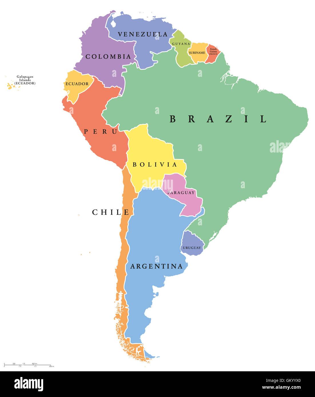 Südamerika Karte Länder.Südamerika Einzelne Staaten Politische Karte Alle Länder In