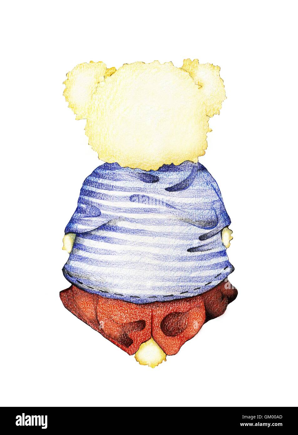 Handgezeichnete Rückansicht niedlichen Teddybären in Matrosenhemd ...
