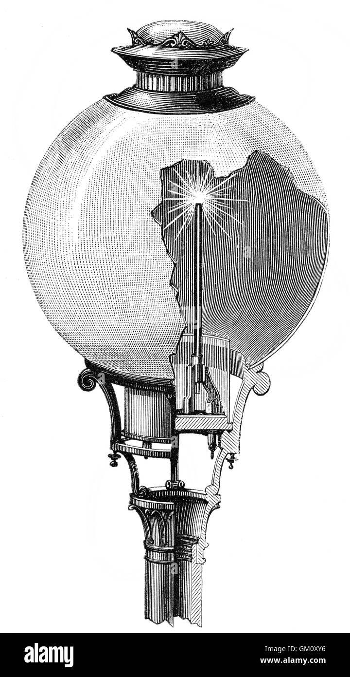 Eine Yablochkov Kerze von Pawel Nikolajewitsch Yablochkov, 1847-1894, einen russischen Ingenieur der Elektrotechnik Stockbild