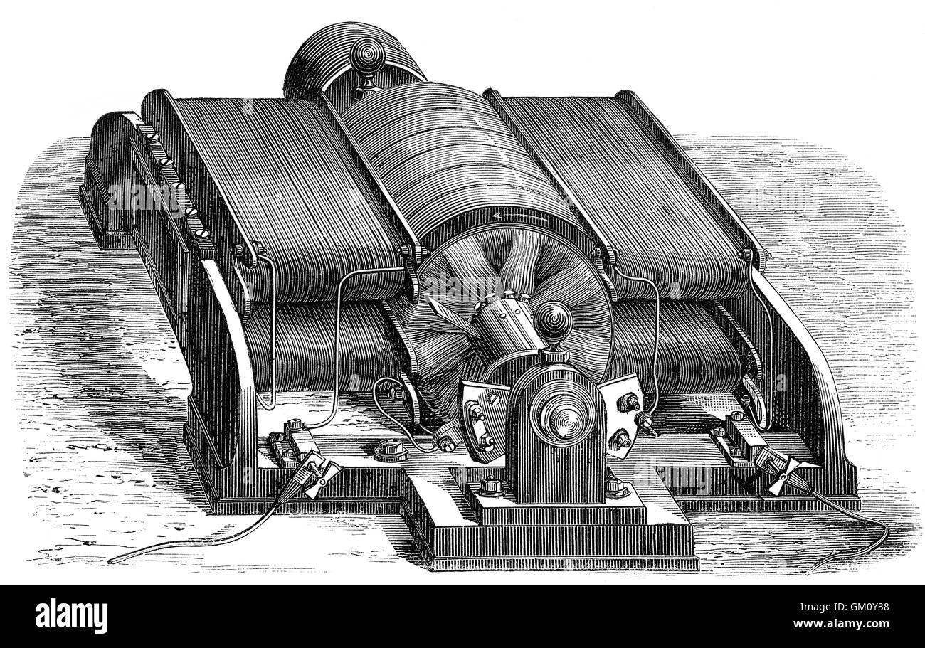 Elektrischer Generator, Dynamo, gebaut von Siemens & Halske, Deutschland, 19. Jahrhundert Stockbild