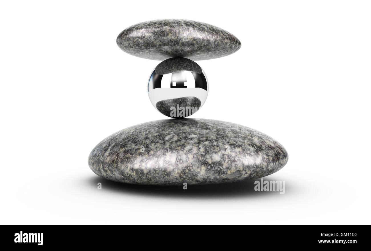 3D Illustration von zwei Kieselsteine und eine Metallkugel gestapelt auf weißem Hintergrund. Konzept der Herausforderung Stockbild