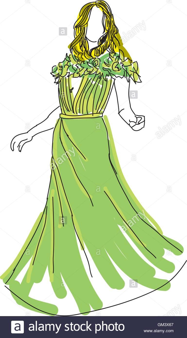 Abbildung Bild Frau Vektor Gezeichnet Von Im Kleid Grünen WEDH29YI