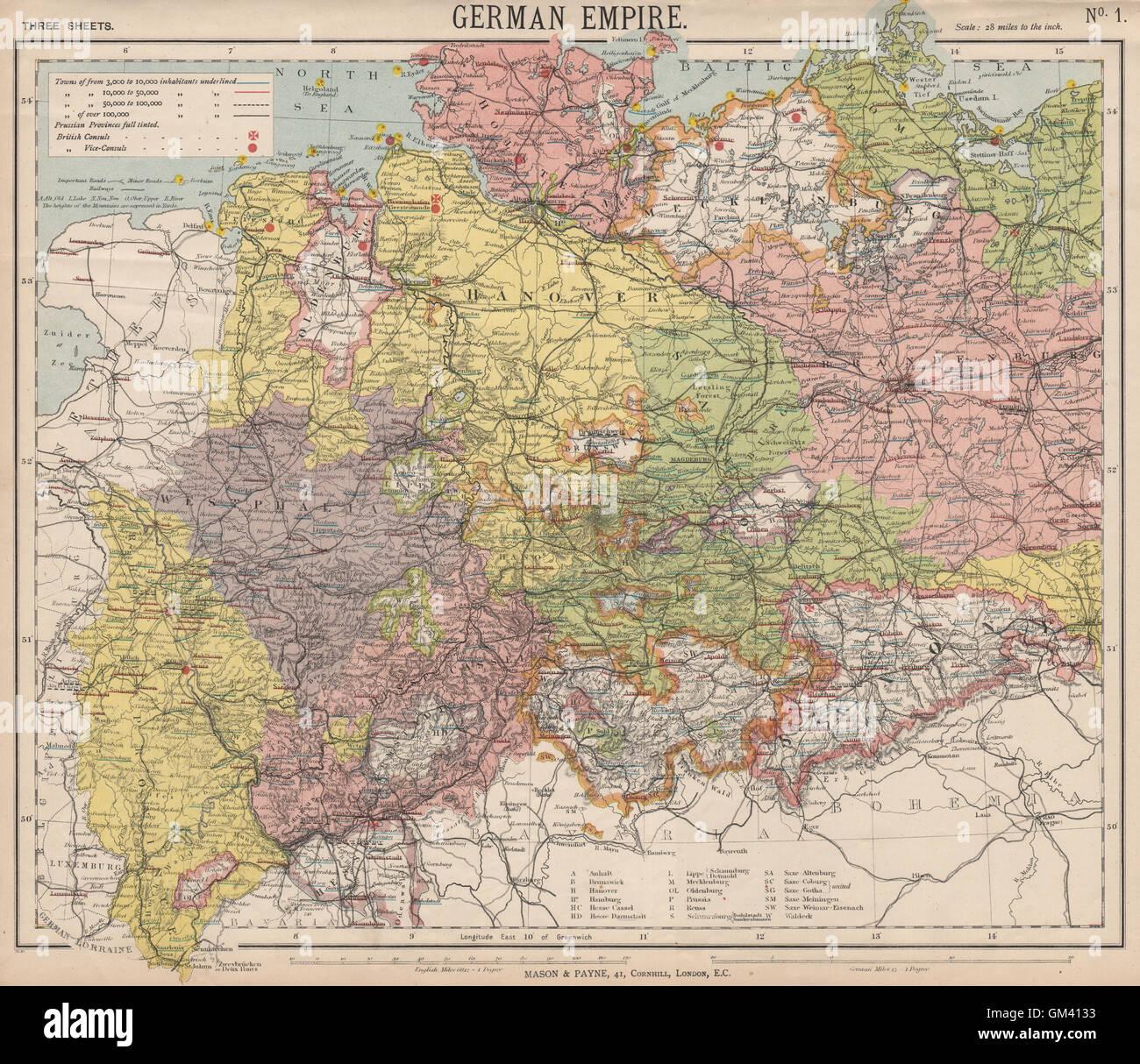 Deutsches Reich Karte.Deutsches Reich Preußischen Provinzen Leuchttürme Britische