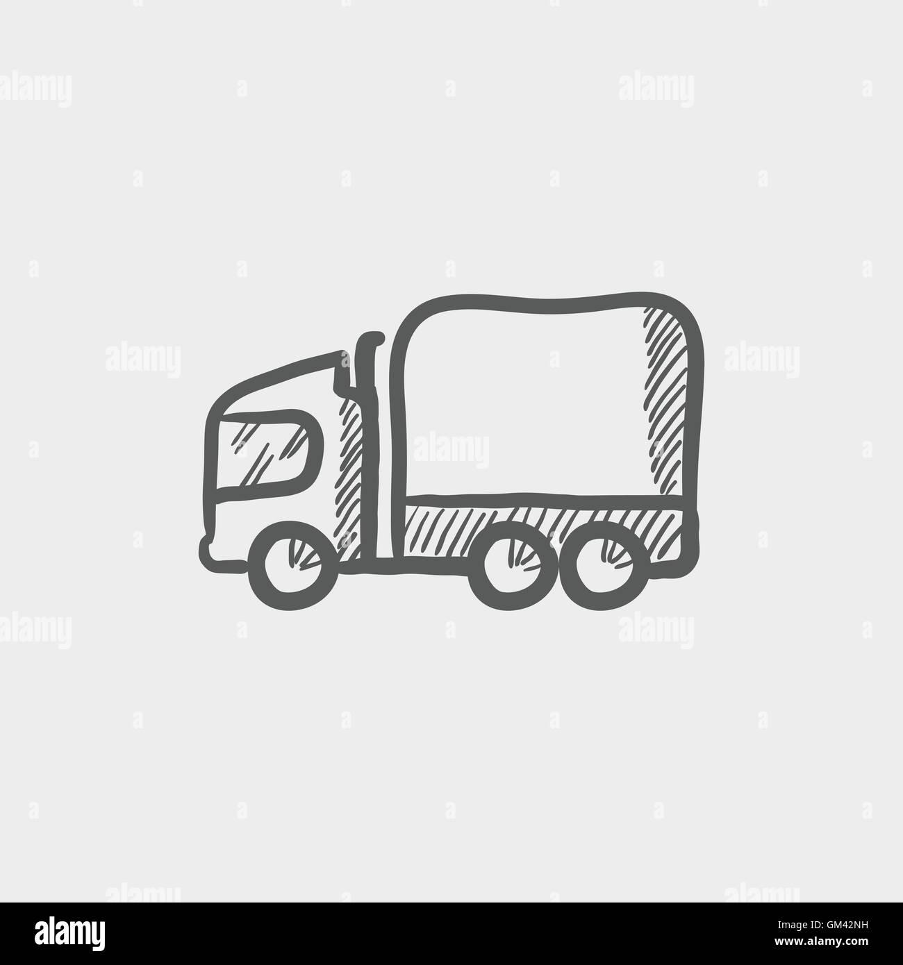 Hand Draw Transportation Van Stockfotos & Hand Draw Transportation ...