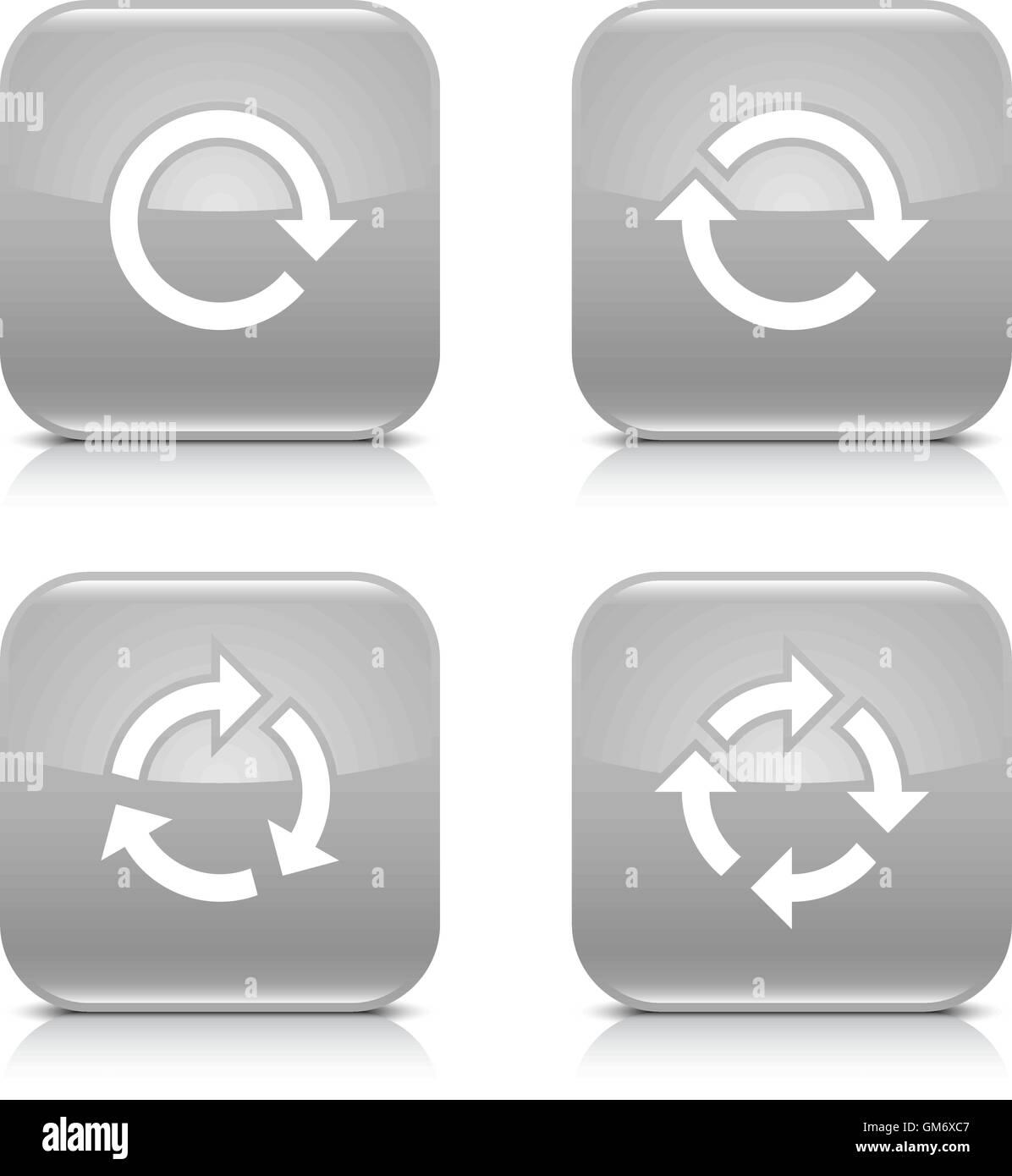 4 Pfeil-Symbol. Weiße, Wiederholung, Reload, Rotation, Refresh Zeichen. 02 festgelegt. Gray gerundete Quadrat Stockbild