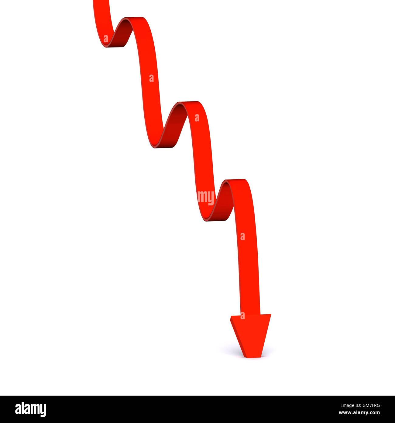 Fallende Graphen Stockbild