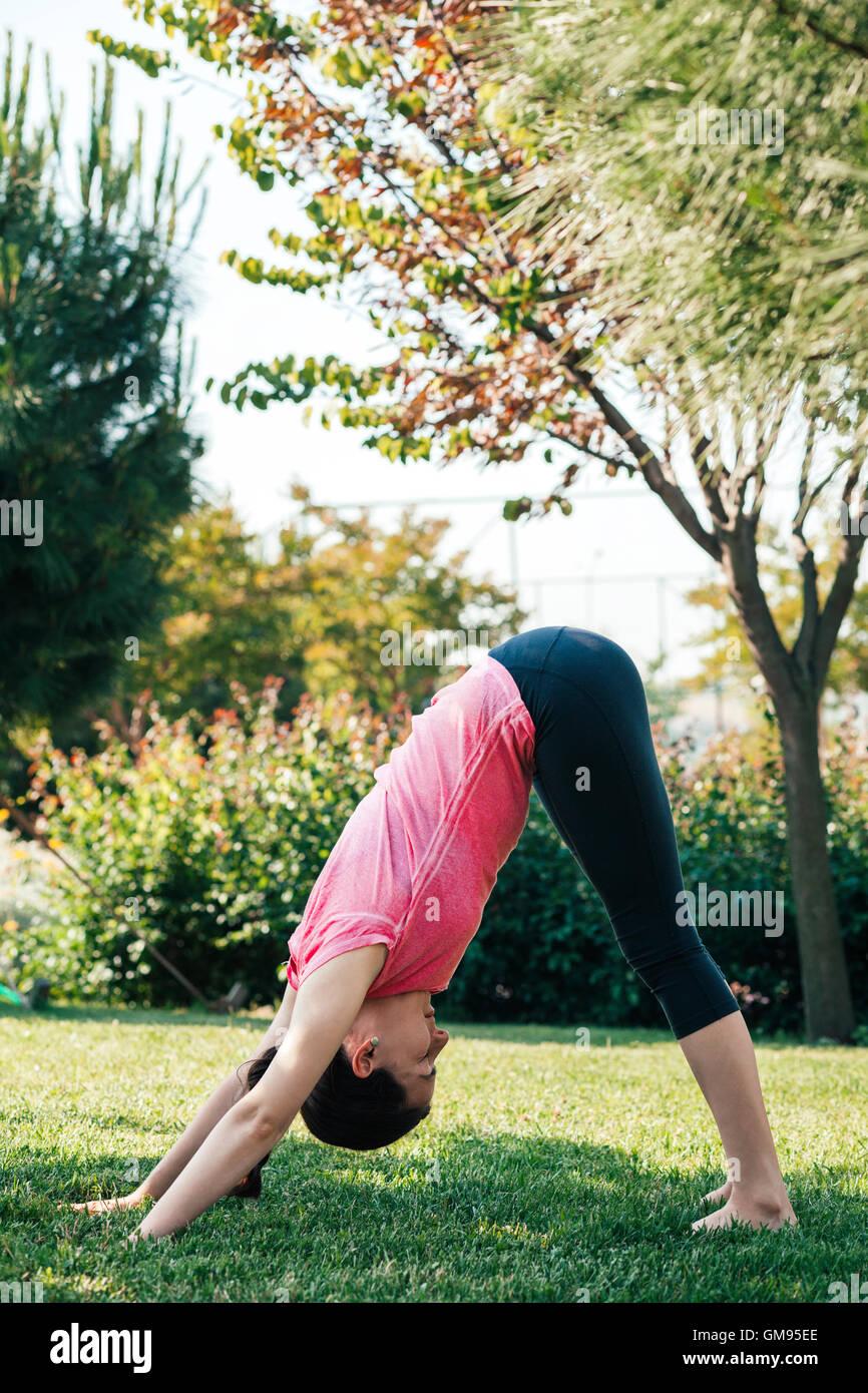 Junge Frau praktizieren Yoga im Park, nach unten mit Blick auf Hund Position Stockbild