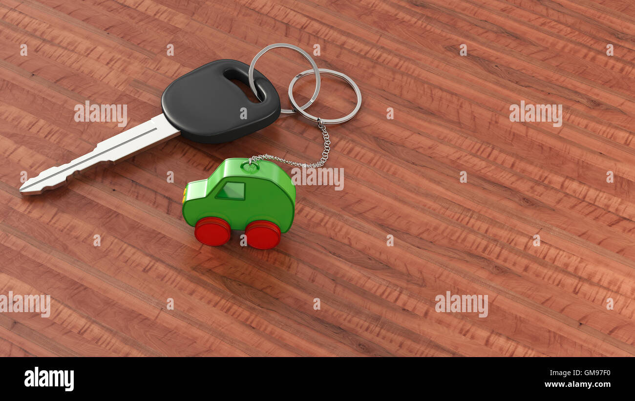 Fahrzeugschlüssel mit Schlüsselbund, grünes Auto, saubere Energie Stockbild