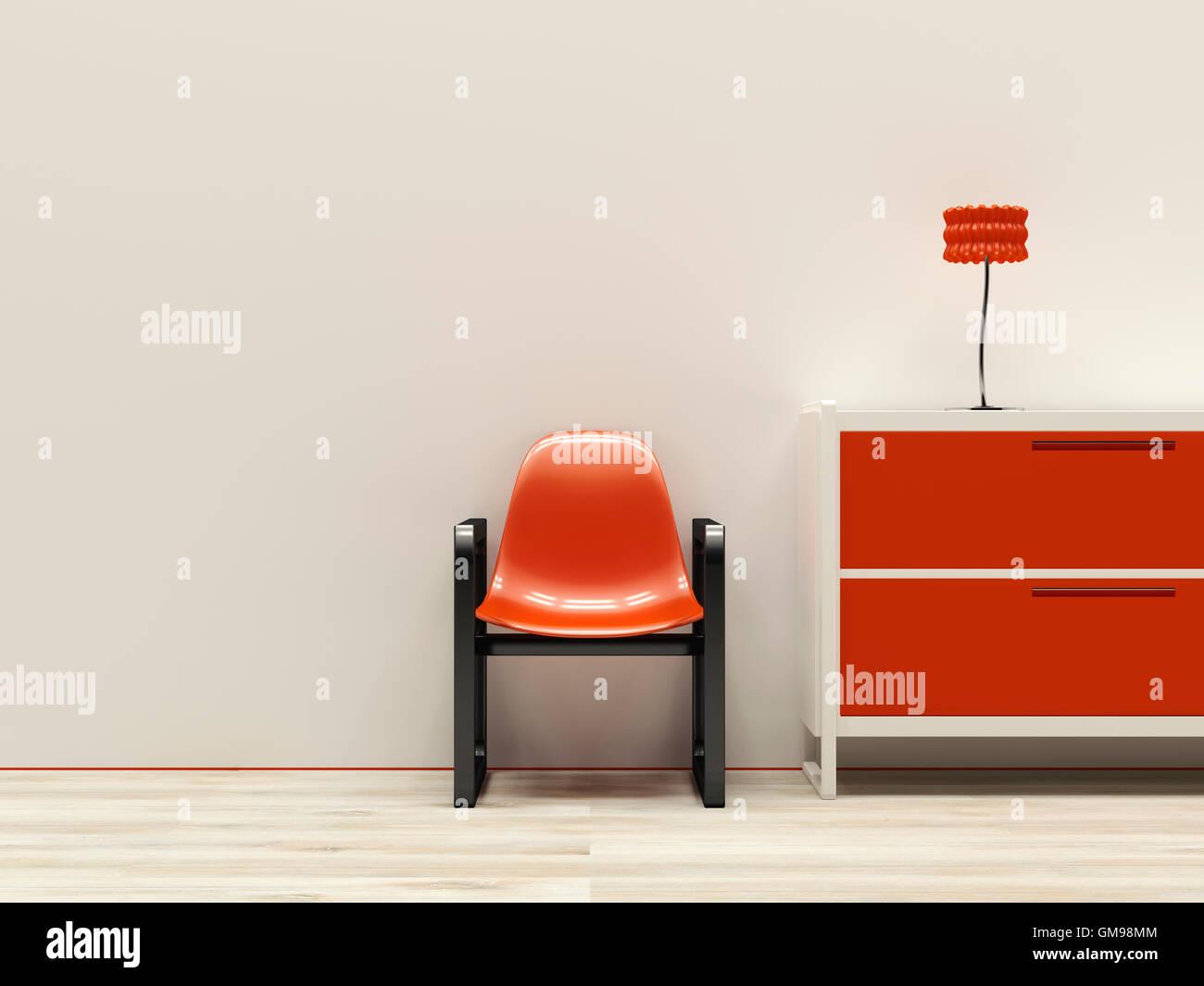 Rote Retro-Stil Interieur, 3D Rendering Stockbild
