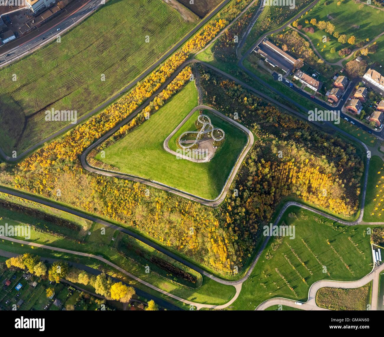 Luftaufnahme, Tiger und Turtle Magic Mountain, Landmarke Angerpark, Aerial Duisburg, Ruhrgebiet, Nordrhein-Westfalen Stockbild