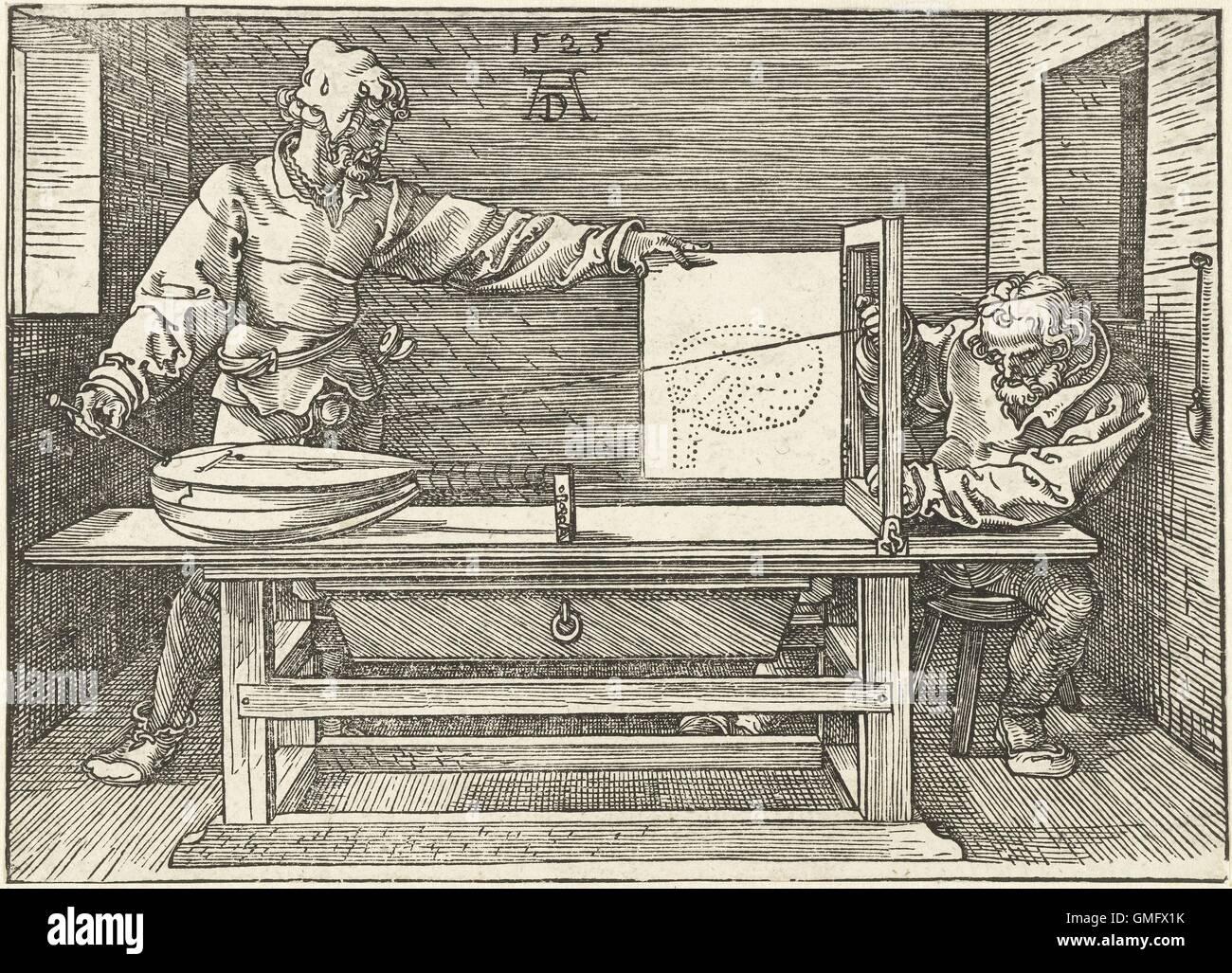 Ein Künstler zieht eine laute, von Albrecht Dürer, 1525, drucken, gravieren. Künstler, die Durchführung Stockbild