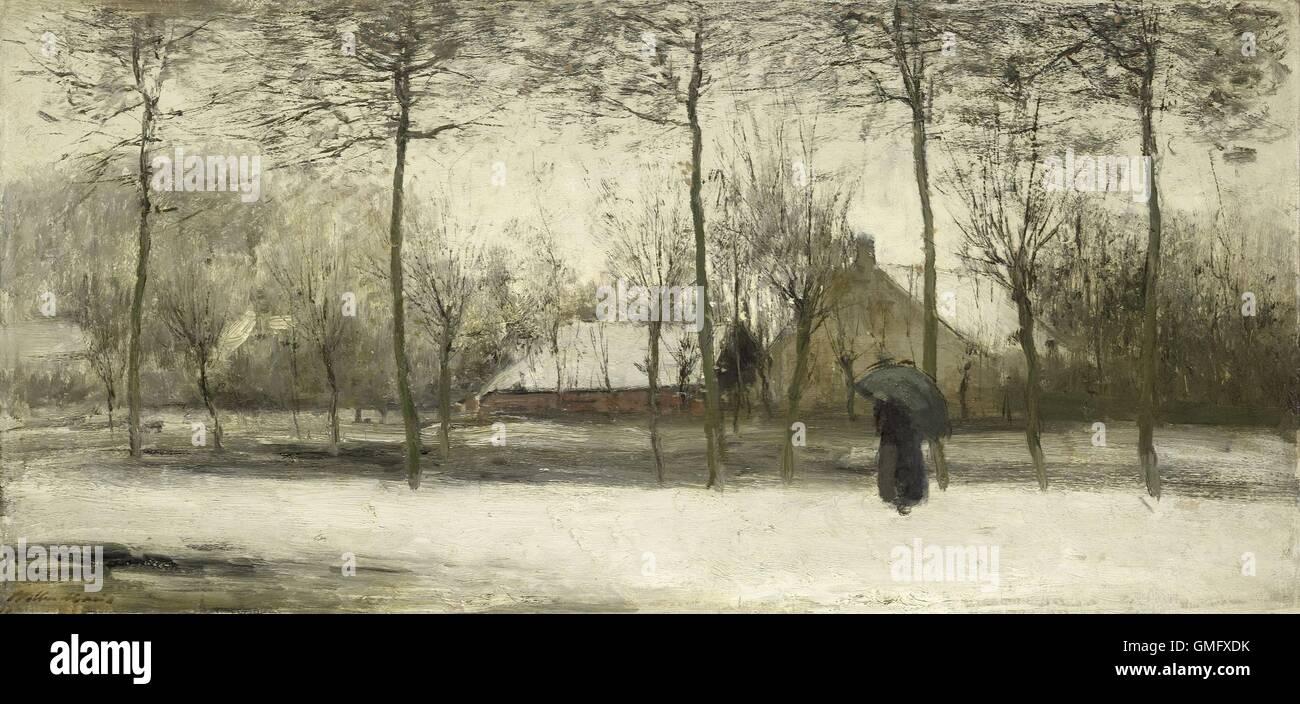 Winterlandschaft, Willem Maris, c. 1875, niederländische Malerei, Öl auf Leinwand. Impressionistische Landschaft Stockfoto