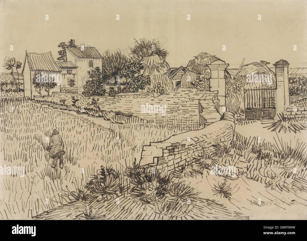 Bauernhof in der Provence, von Vincent Van Gogh, c. 1888, niederländische Zeichnung, Bleistift, Feder und Tinte Stockfoto