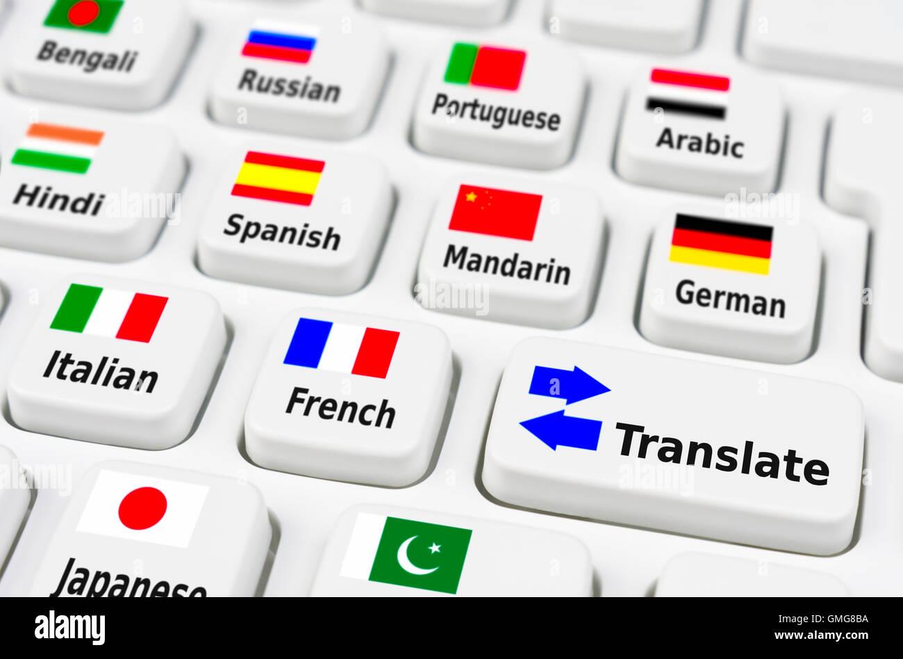 Sprache Übersetzung mit einer PC-Tastatur. Stockbild
