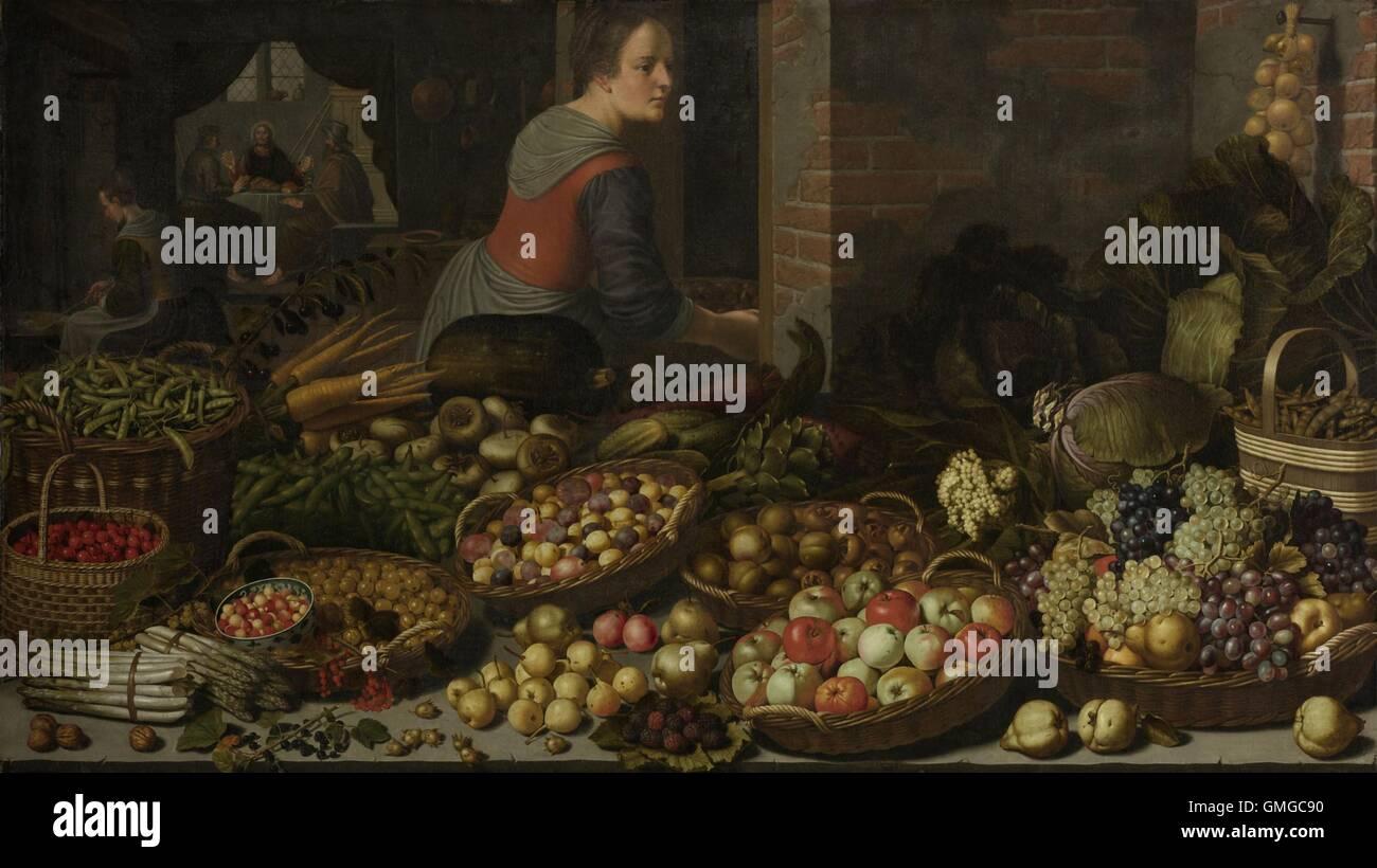Stillleben mit Obst und Gemüse, mit Christus in Emmaus, von Floris ...