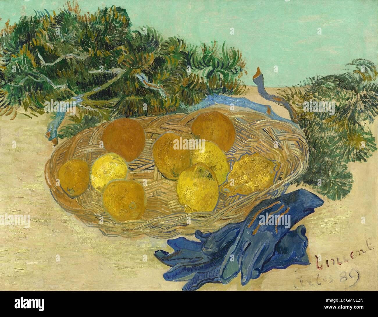 stillleben von orangen und zitronen mit blauen handschuhen von vincent van gogh 1889. Black Bedroom Furniture Sets. Home Design Ideas