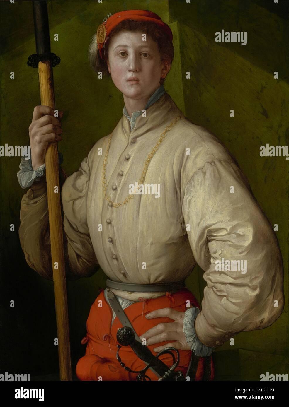 Porträt einer Halberdier von Pontormo, 1528-30, italienischen Renaissance Malerei, Öl und Tempera auf Stockbild
