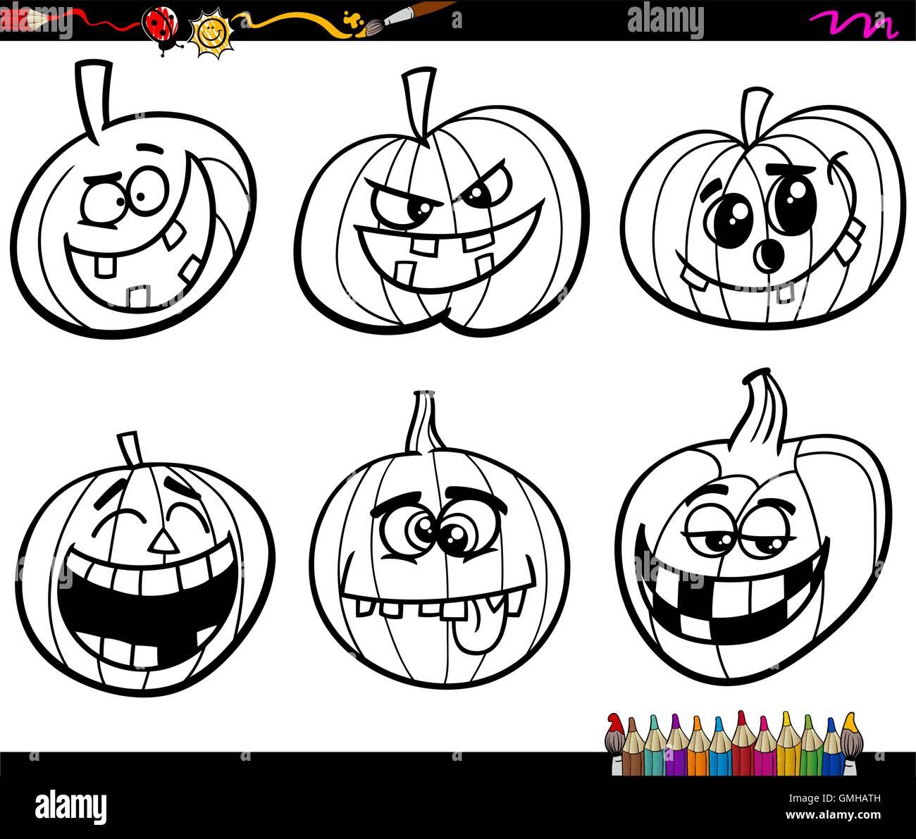 Malvorlagen Halloween-Kürbisse Stock-Vektorgrafik - Alamy