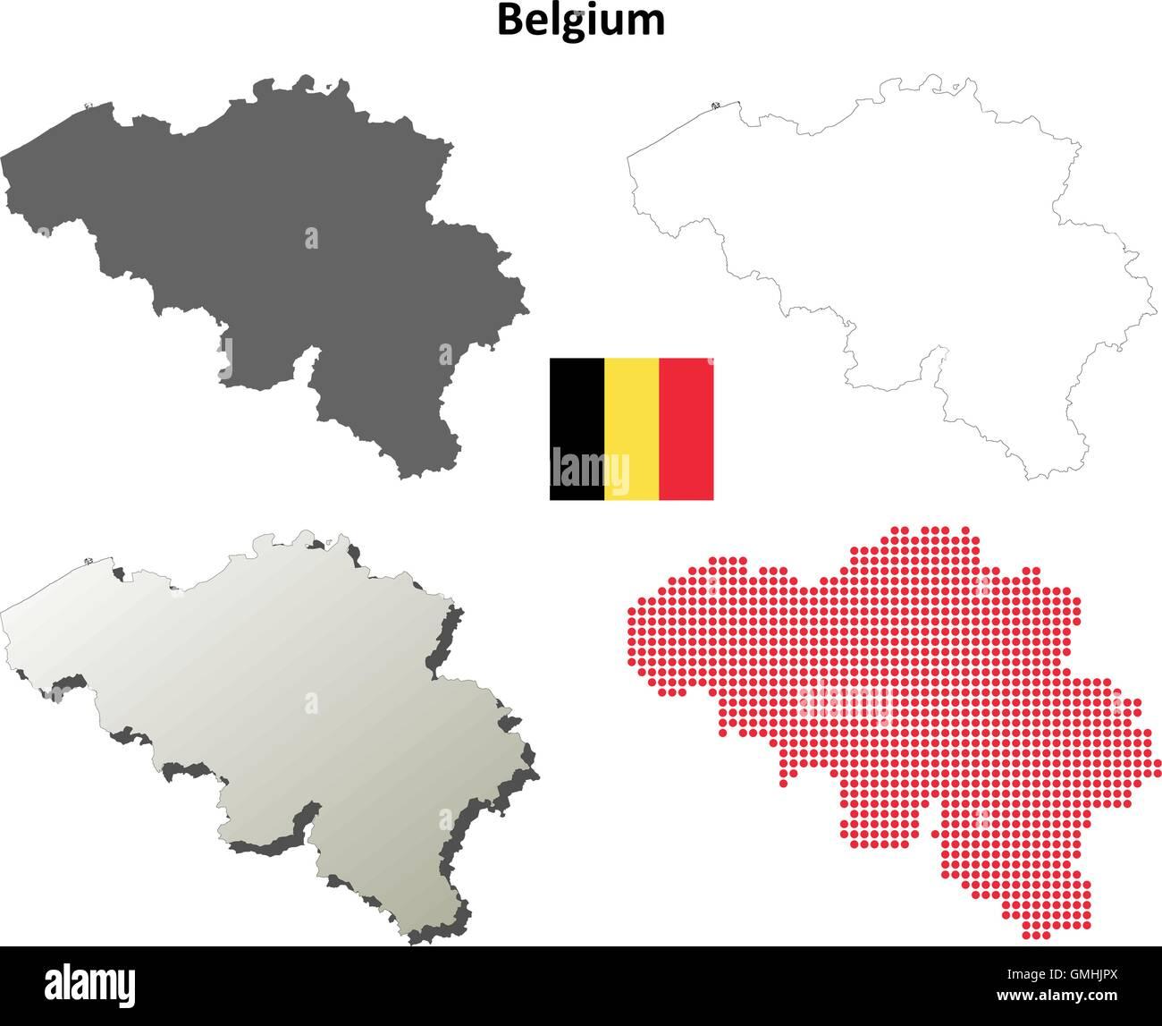 Belgien Karte Umriss.Belgien Umriss Karte Gesetzt Vektor Abbildung Bild 115943266 Alamy