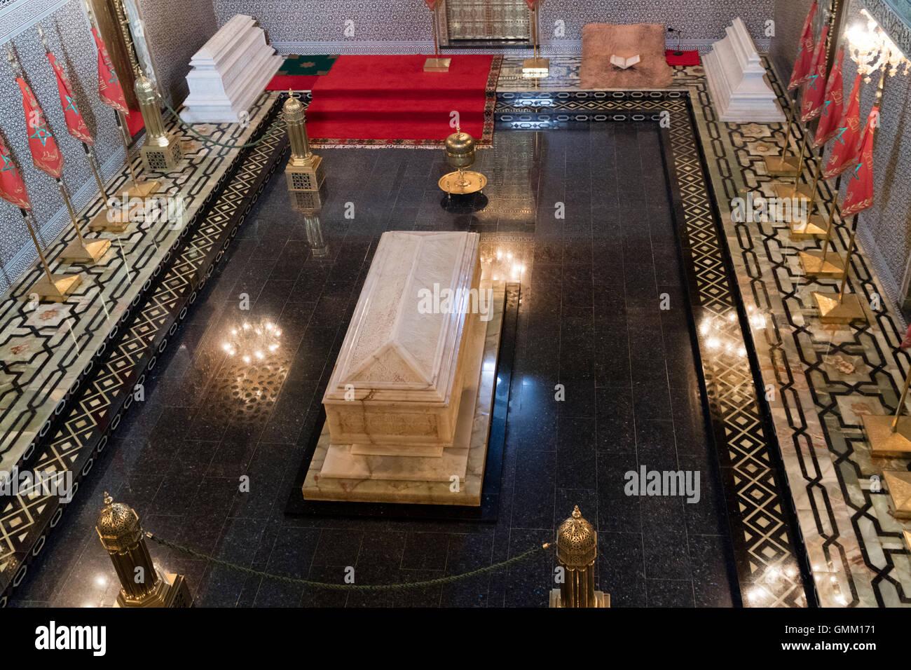 Innere des das Mausoleum von Mohammed V in Rabat, Marokko, Stockbild