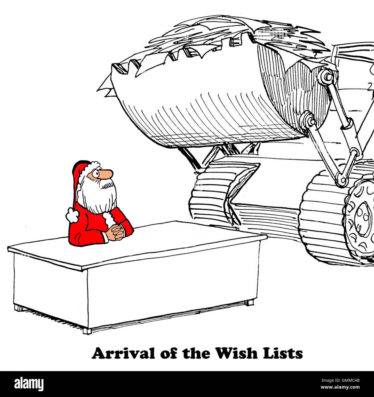 Weihnachten Cartoon zeigt eine Planierraupe liefern Wunsch Listen an ...