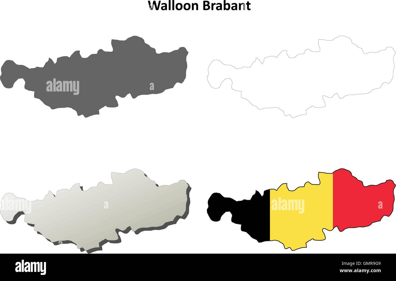 Belgien Karte Umriss.Walloon Brabant Umriss Karte Set Belgische Version Vektor