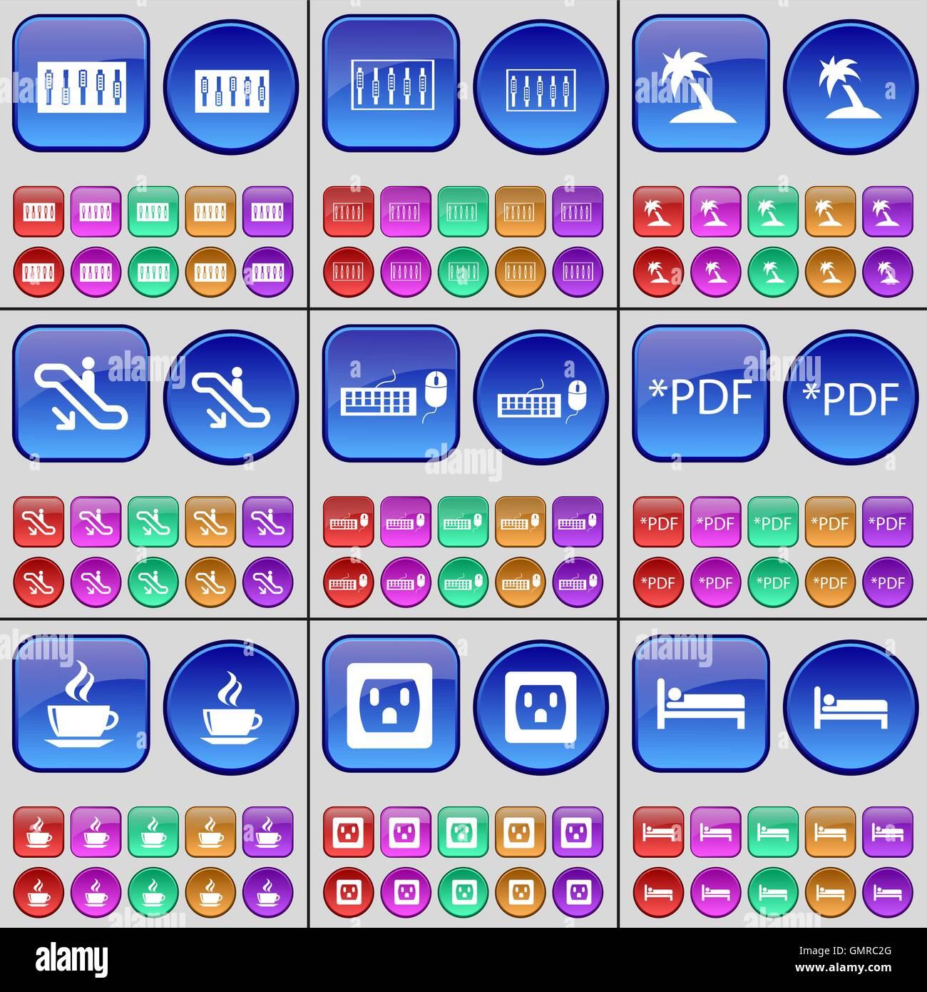 Equalizer, Palm, Rolltreppe, Tastatur, PDF, Kaffee, Steckdose, Bett ...