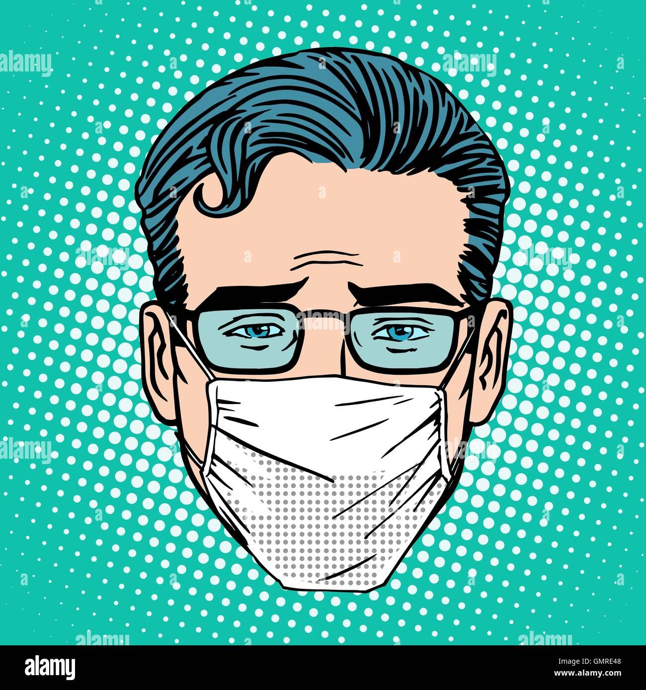 Retro-Emoji wund Virus Infektion medizinischen Maske Gesicht Mann Stockbild