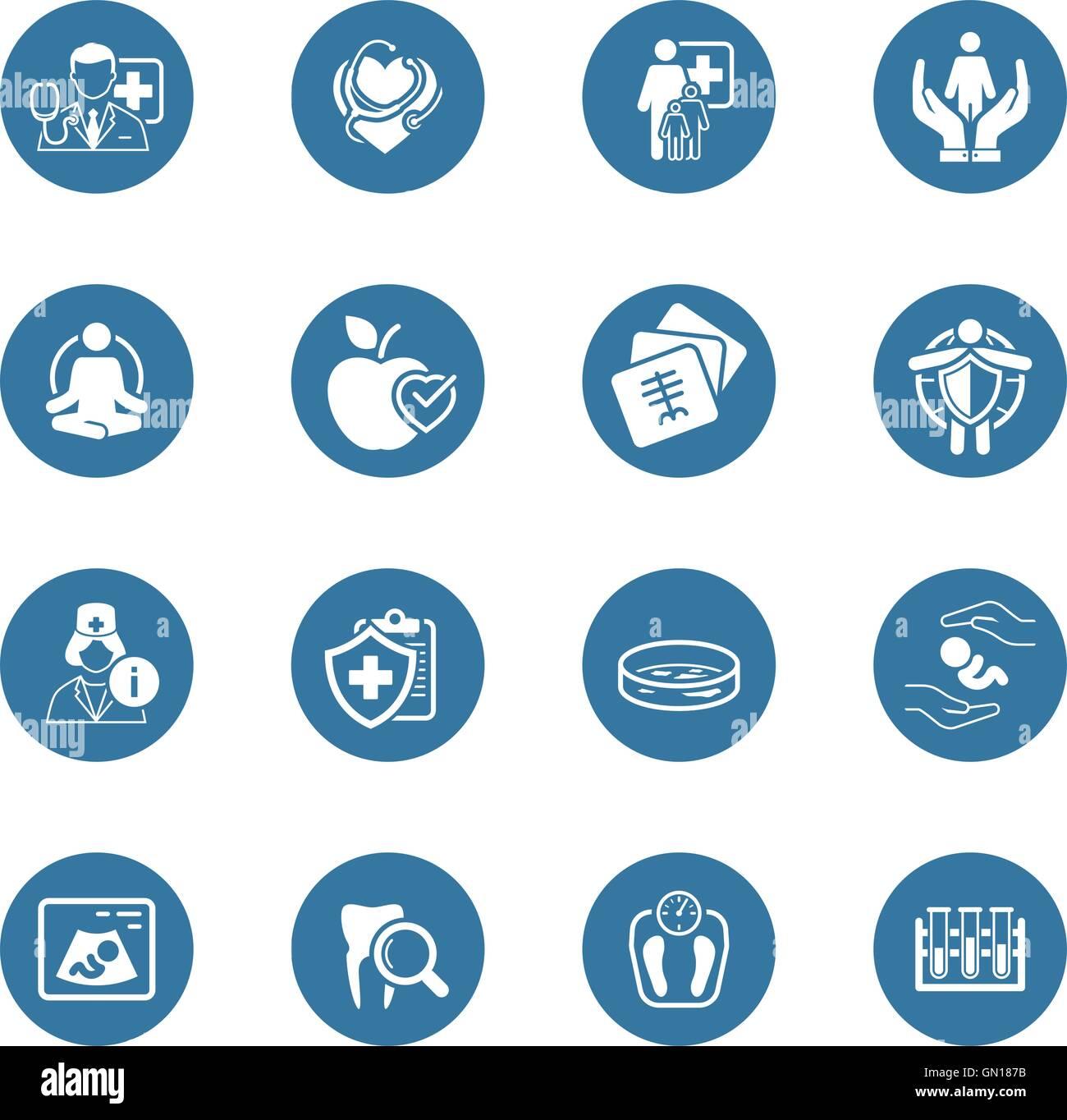 Medizin und Gesundheitswesen Icons Set. Flaches Design. Stock Vektor