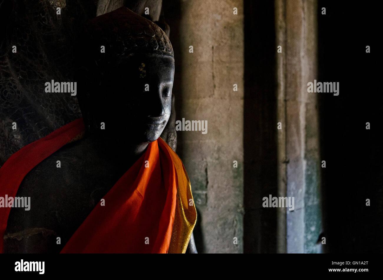 Buddha-Statue in Angkor Wat Wahrzeichen berühmten buddhistischen Tempel in Siem reap Kambodscha Asien Stockbild