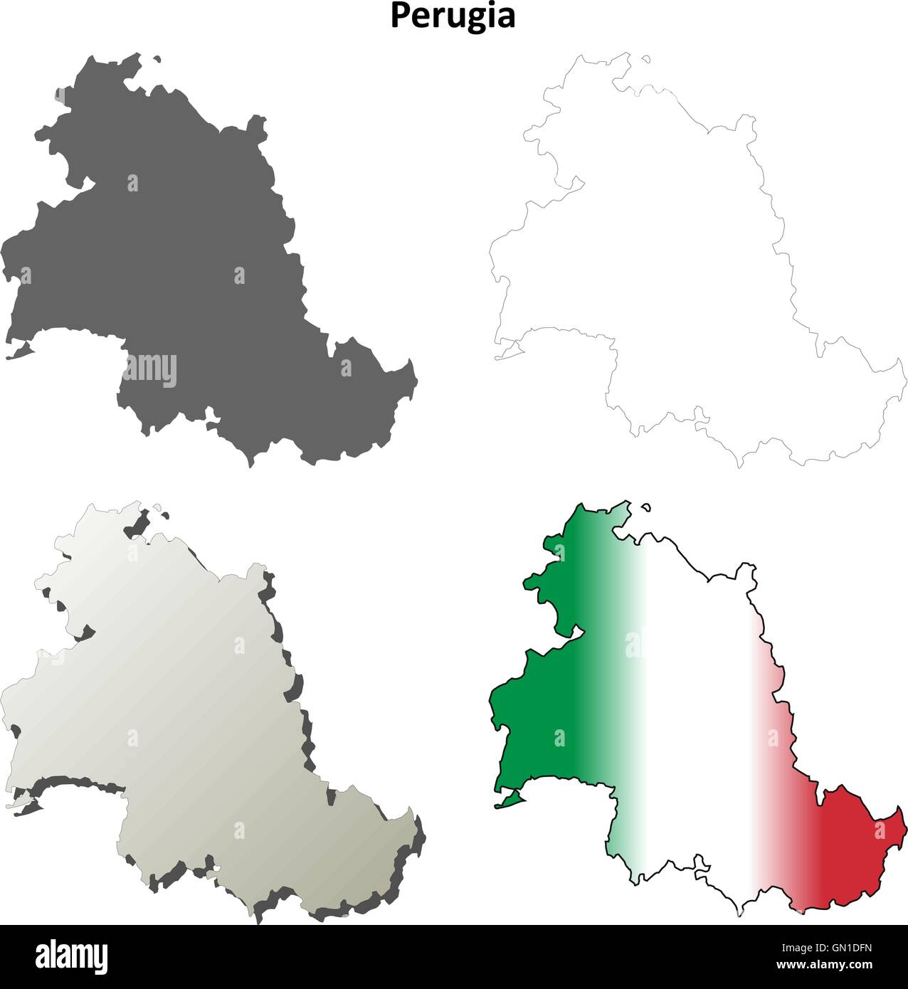 Perugia Leer Detaillierte Gliederung Karte Gesetzt Vektor