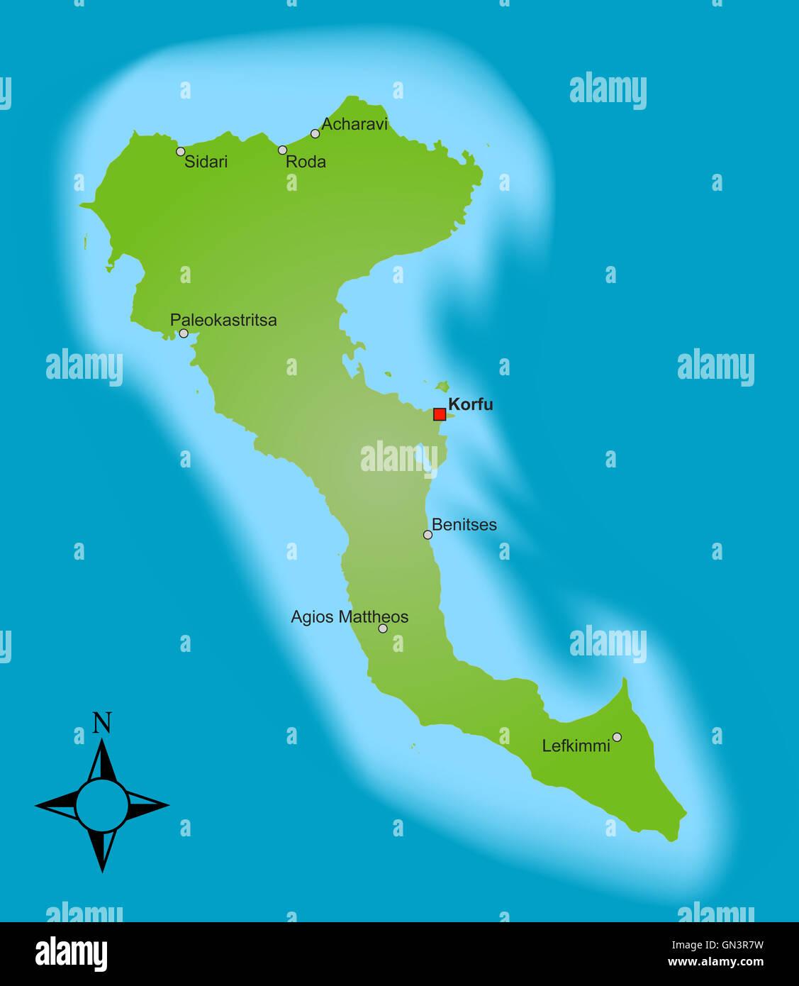 Stadtplan Von Korfu Detaillierte Gedruckte Karten Von Korfu