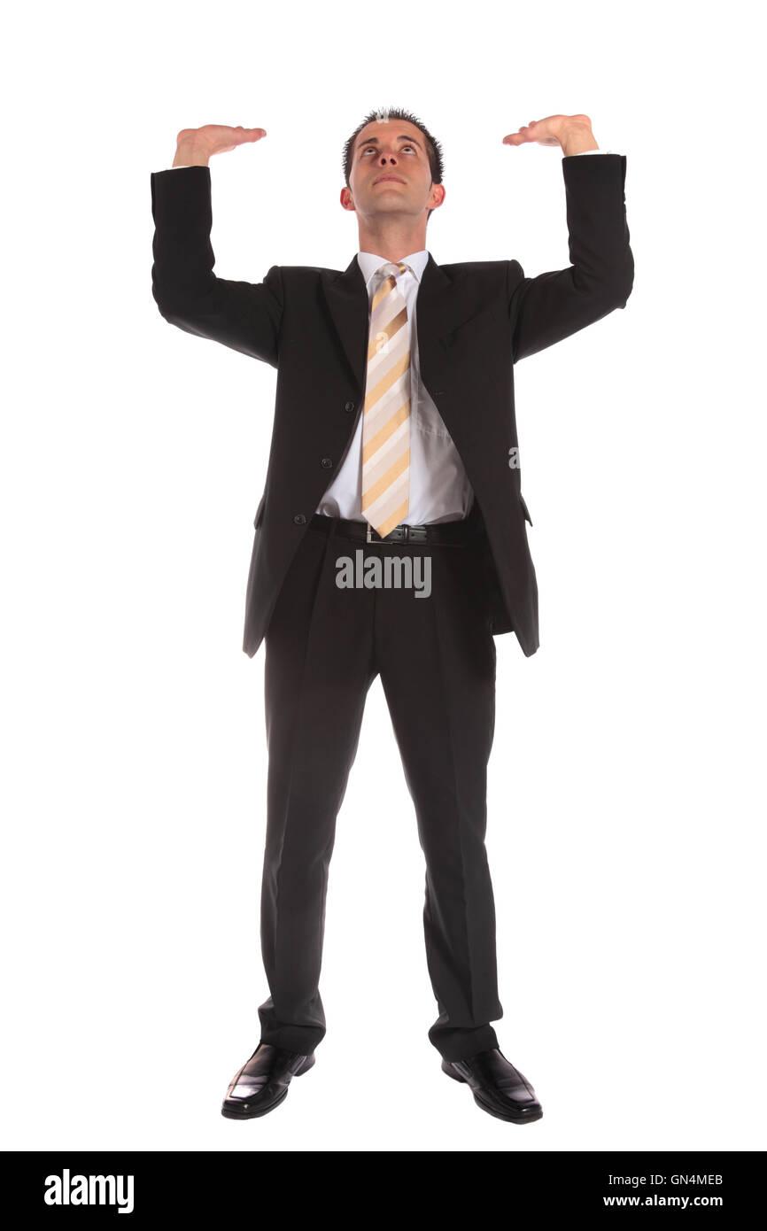 Geschäftsmann, seine Arme heben Stockbild