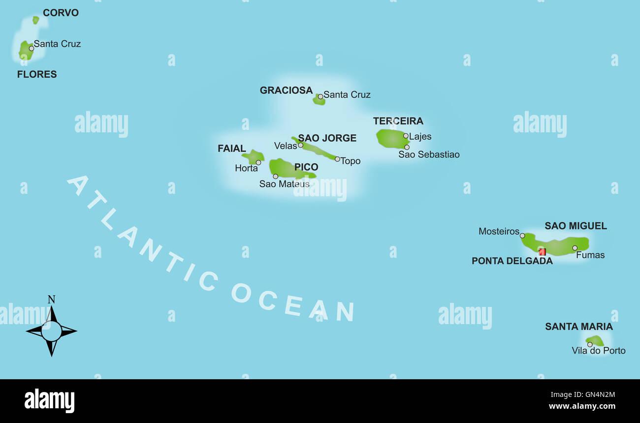 Azoren Karte.Karte Azoren Stockfoto Bild 116274332 Alamy