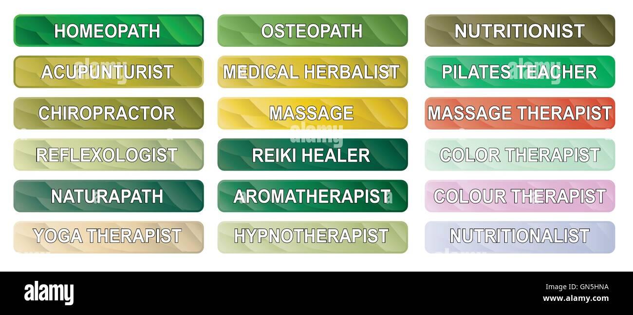 Alternative Therapie-Tasten Stockbild